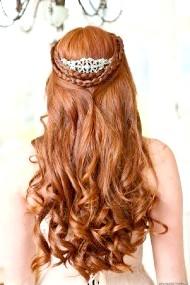 Фото - весільна зачіска в грецькому стилі для довгих рудого волосся