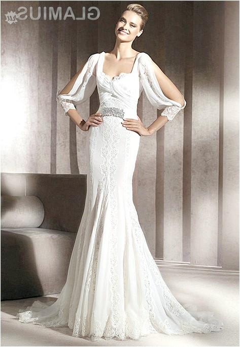 Фото - Ексклюзивне вузьке весільну сукню